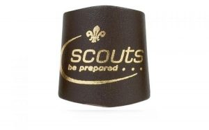 Gold Embossed Leather Scout Woggle