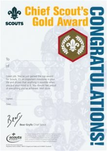 Gold Chief Scout Award Certificates