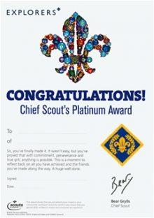 Platinum Chief Scout Award Certificates