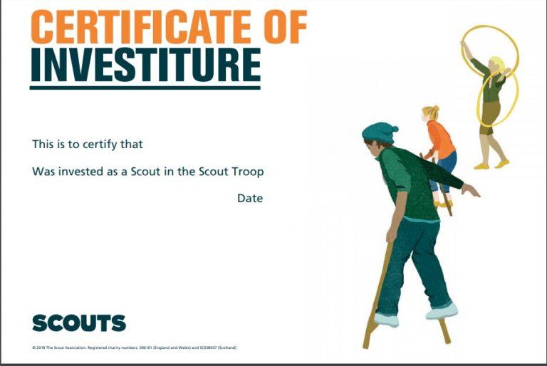 scout investiture certificate